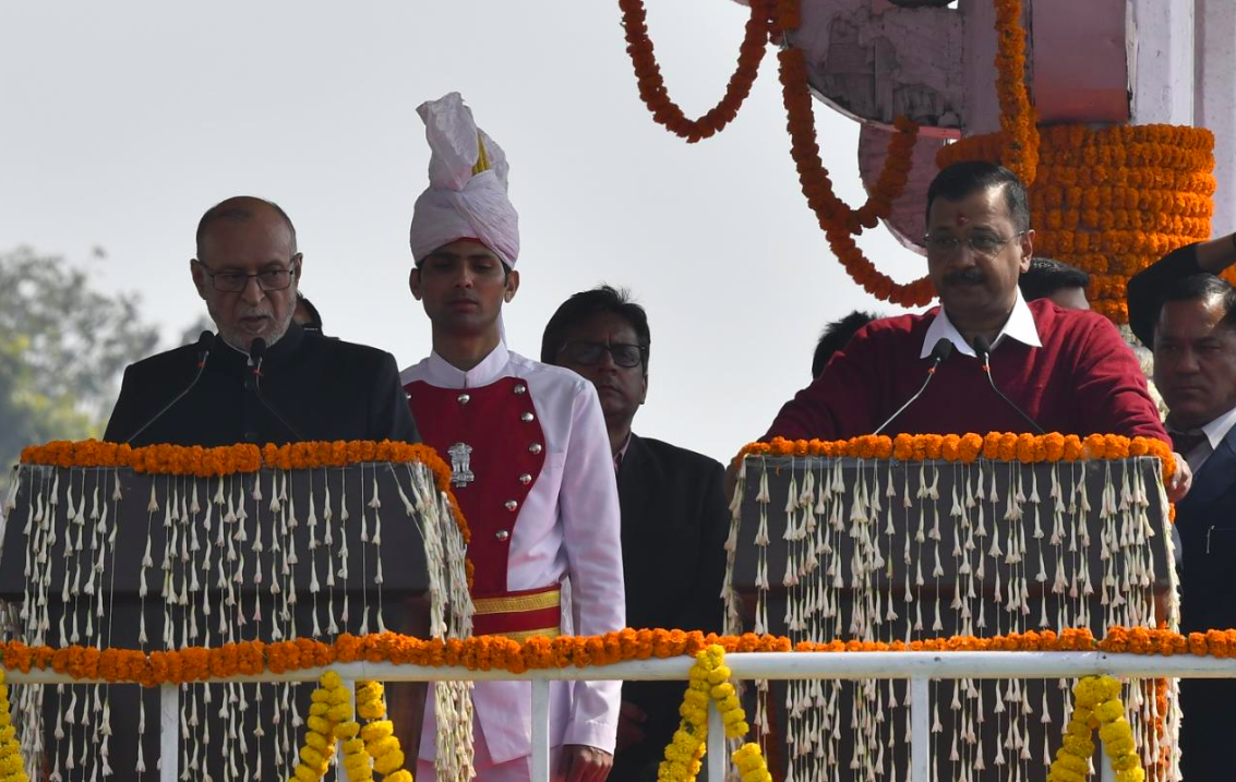 Arvind Kejriwal takes oath as Delhi CM for the third successive