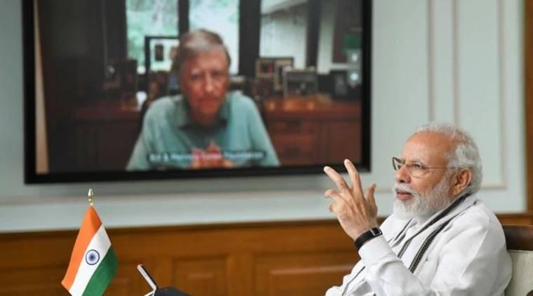 वीडियो कॉन्फ्रेंसिंग के जरिए प्रधानमंत्री मोदी की हुई बिल गेट्स से बात।