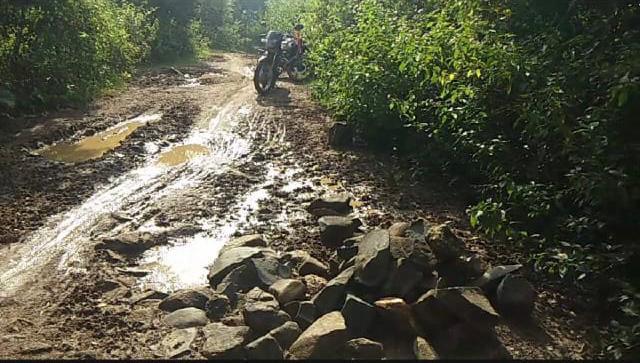 कच्ची सड़क,गड्ढे व नुकीली पत्थरों से ग्रामीण परेशान,पगडंडी पर चलने को हैं मजबुर: झारखंड